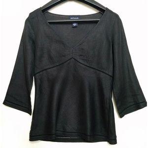 ANN TAYLOR Black Linen Empire Waist - Size 0